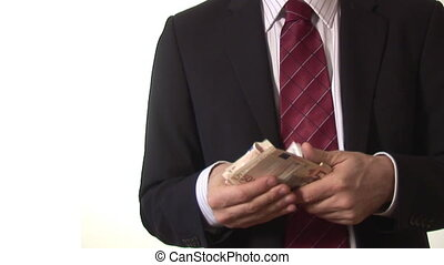 Stock Footage of a Man Counting Money