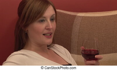 Stock Footage Relaxing with a Glass of Wine