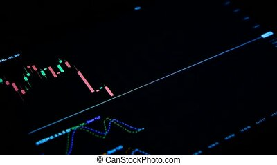 Stock foreign exchange market forex candles graph on black background
