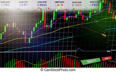 Stock Forex trading - Business graph charts of financial / forex charts graph board data information
