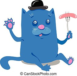 Stock Illustration Blue Cat with Sausage