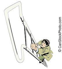 Businessman climbs up stairs. Indicating arrow.