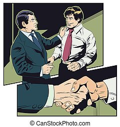 Businessman congratulates colleague. Boss praises...