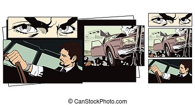 Stock illustration. Car crashed into a pillar.