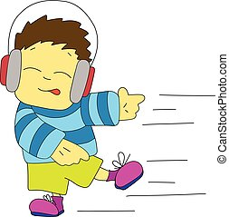 Stock Illustration Dancing Boy in Headphones