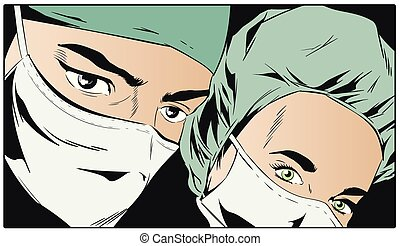 Doctors in surgical masks. - Stock illustration. Doctors in...