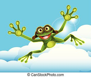 Stock Illustration Frog in the Clouds