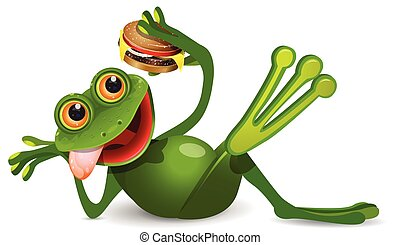 Stock Illustration Frog Lies with Cheeseburger on a White...