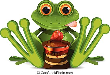 Stock Illustration Frog with Cake