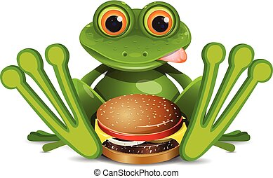 Stock Illustration Frog with Cheeseburger on a White...