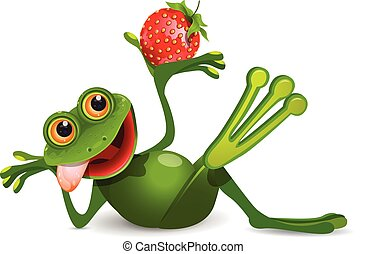 Stock Illustration Frog with Strawberry on a White...