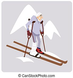 Stock illustration. Funny skier on crutches