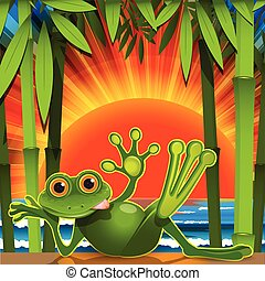 Stock Illustration Green Frog on Sunset Background