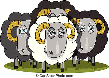 Stock Illustration Herd of Rams on a White Background