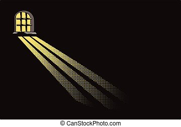 Light of moon in dungeon window. - Stock illustration. Light...