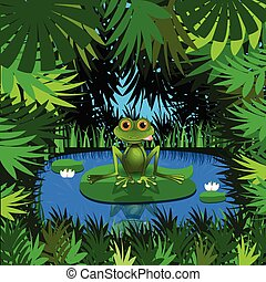 Illustration of a Frog in the Jungle at the Pond