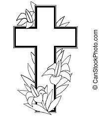 Stock Illustration of Easter Cross - Useful black and white...
