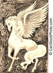 Stock illustration of Vintage White Pegasus