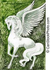 Stock illustration of White Pegasus