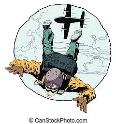Paratrooper in skydiving.