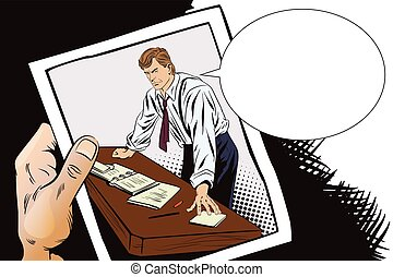 Stock illustration. People in retro style pop art and vintage advertising. Businessman. Boss. Hand with photo.