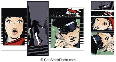 Crime collage. Woman victim of criminal.