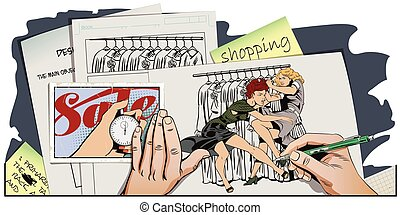 Girls fighting. Sale. Discounts at store.