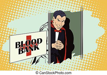 Halloween. Vampire at entrance to blood bank. - Stock...