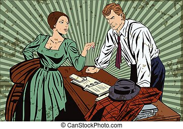Stock illustration. People in retro style pop art and vintage advertising. Private detective and girl. Grunge version.