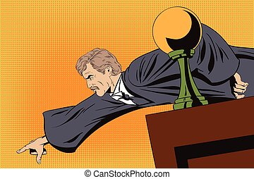 Angry judge shows a finger from the podium.