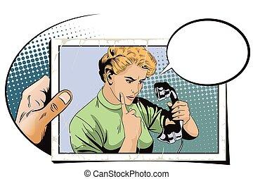 Girl scolds handset old phone.