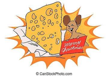 Mouse with a huge piece of cheese for Christmas.