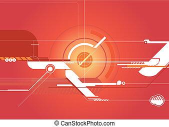 Stock Illustration: Red Techno Background
