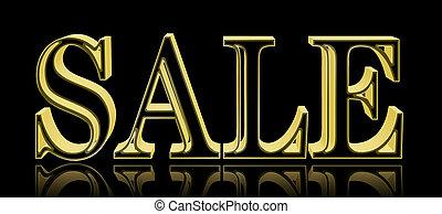 Stock Illustration - Sale, Shiny Golden Text, 3D Illustration, Black Background