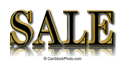 Stock Illustration - Sale, Shiny Golden Text, 3D Illustration, White Background