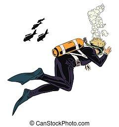 Scuba divers underwater.