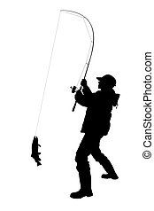 Stock Illustration - Silhouette of fisherman fly fishing with net<< Back to Search Results Illustration of a silhouette of a fisherman