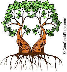 Stock Illustration Two green trees with leaves, cartoon on white background.