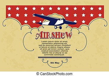 Vintage Airshow concept design card. - Stock Illustration. ...