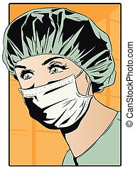 Woman doctor in surgical mask. - Stock illustration. Woman...