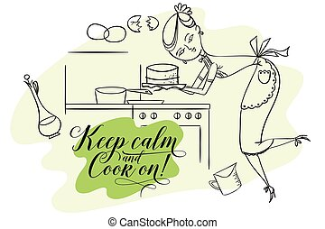 Woman in kitchen. Cooking.