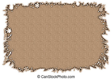 Stock image of Burlap Frame - Torn edge frame with burlap...