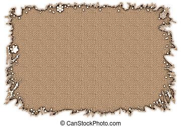 Stock image of Burlap Frame - Torn edge frame with burlap ...