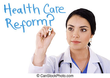 Health care reform - Stock image of female doctor writing on...