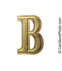 stock image of gold color alphabet with clipping path