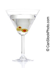Stock image of Martini with two olives over white background. Find more prepared drinks and cocktails in my portfolio.