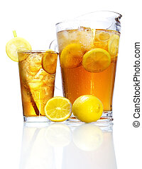 Iced Tea - Stock image of pitcher and glass of Iced tea...