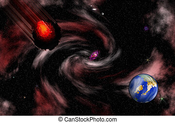Stock image of Space Asteroid Scene - Bright digital space ...