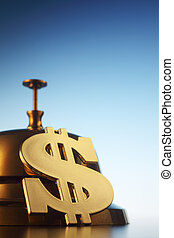 stock image of the dollar sign by the service bell