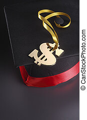 stock image of the mortar board and dollar sign